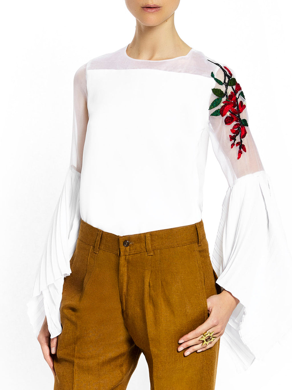 Pleated Blouse with Embroidered Flower