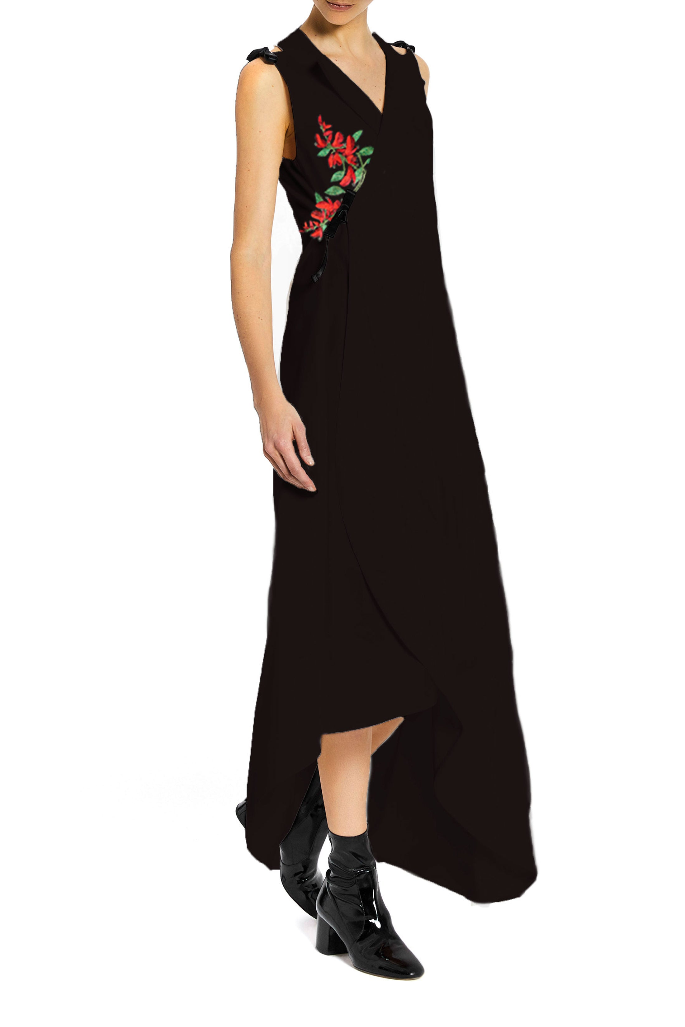 Tuxedo Dress with Embroidered Flower
