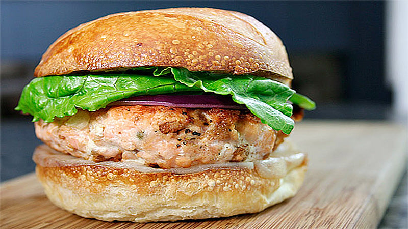 Salmon Burgers with Hot Peach Chutney