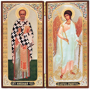 Icon Diptych - St. Nicholas & Guardian Angel - Holy Cross Monastery