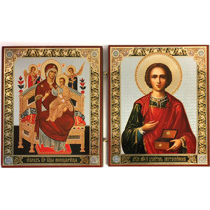 "Icon Diptych - Mother of God ""Healer of Cancer"" & St. Panteleimon - Holy Cross Monastery"