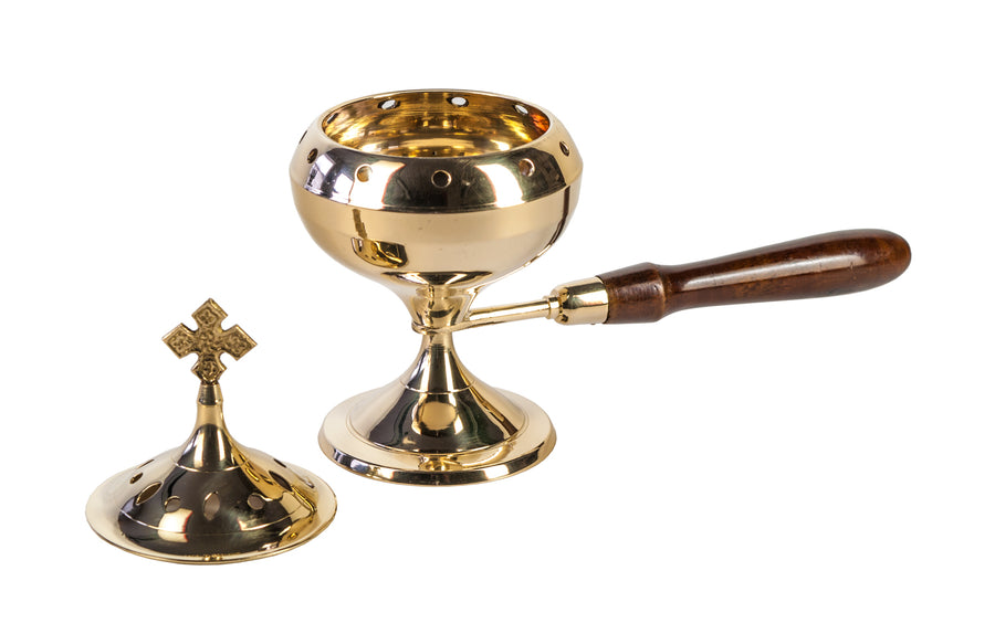 Brass Censer - Wooden Handle
