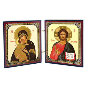 Icon Diptych - Vladimir Mother of God and Christ - Holy Cross Monastery