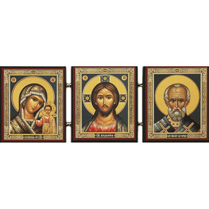 Icon Triptych - Kazan/Christ/St. Nicholas - Holy Cross Monastery