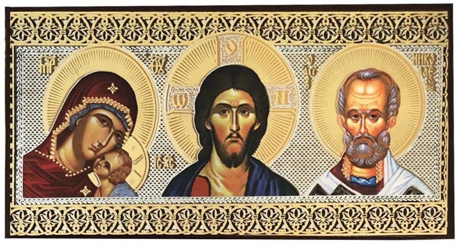 Car Icon triptych with Kazan Theotokos, Christ Pantocrator, and St. Nicholas the Wonderworker