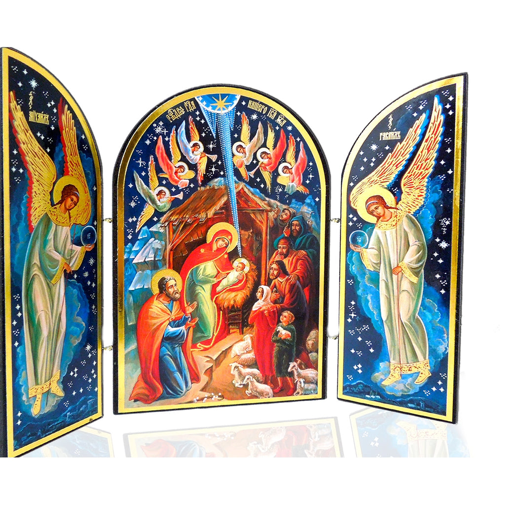 Nativity Triptych (Gold and Blue)