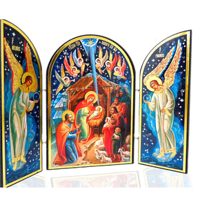 Nativity Triptych (Gold and Blue) - Holy Cross Monastery