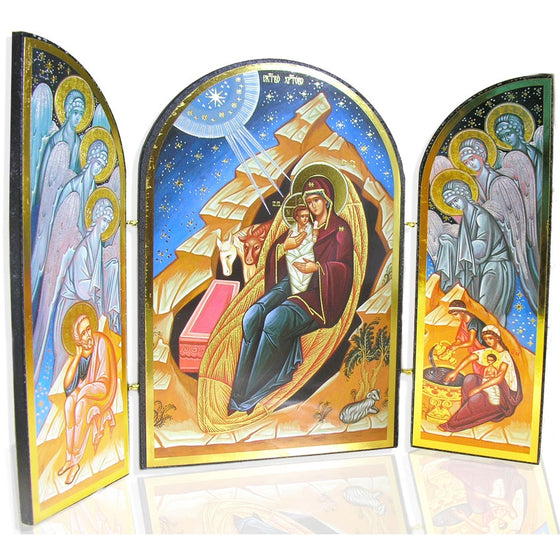 Nativity Triptych (Silver and Blue)