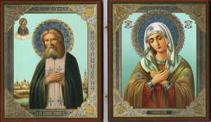 "Icon Diptych - St. Seraphim of Sarov and the Mother of God ""of Tenderness"" - Holy Cross Monastery"