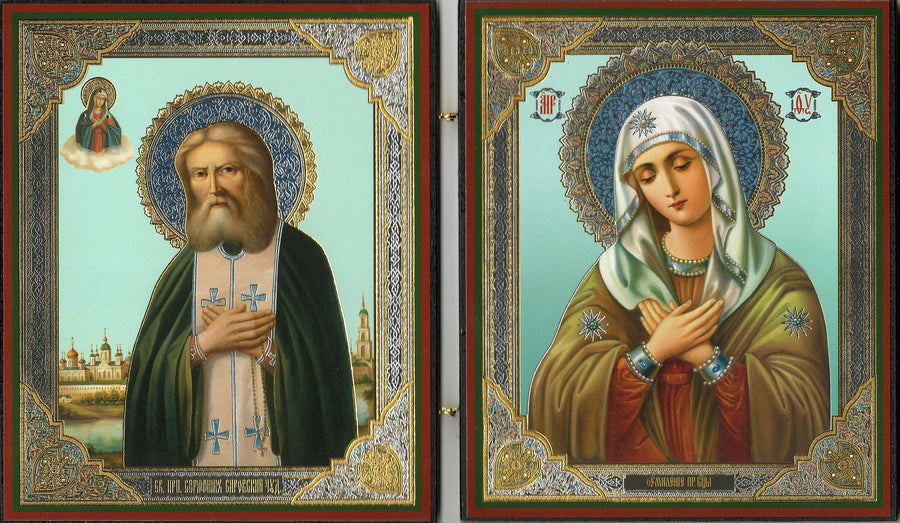 "Icon Diptych - St. Seraphim of Sarov and the Mother of God ""of Tenderness"""