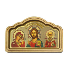 Car Icon (Kazan/Christ/St. Nicholas) - Wooden Border