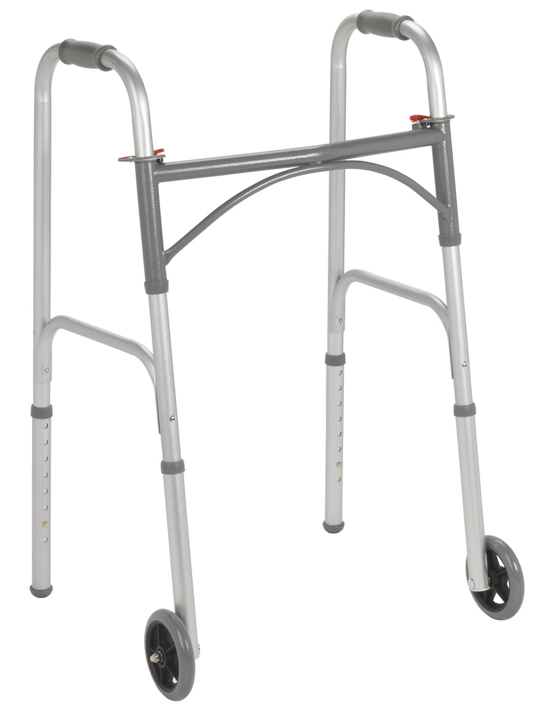 "Folding Walker, Two Button with 5"" Wheels"