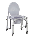 Steel Drop-Arm Commode with Wheels and Padded Armrests (case of 2 units)