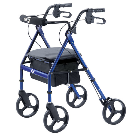 "Portable Walker Rollator with Seat, Backrest and 8"" Wheels, Blue"