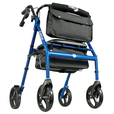 Elite Walker Rollator with Seat, Backrest and Saddle Bag, Blue
