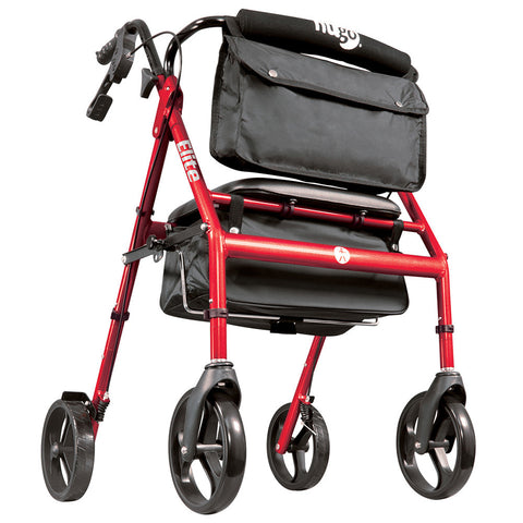 Elite Walker Rollator with Seat, Backrest and Saddle Bag, Garnet Red