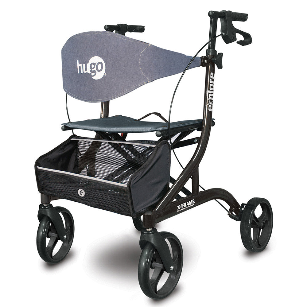 Explore Side-Fold Walker Rollator with Seat, Backrest and Folding Basket, Pearl Black