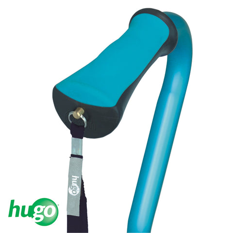 Adjustable Offset Handle Cane with Reflective Strap, Aquamarine