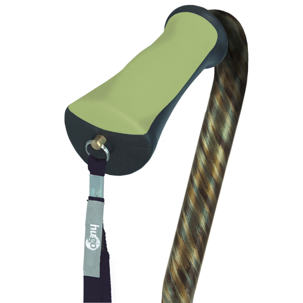 Adjustable Offset Handle Cane with Reflective Strap, Rainforest