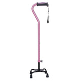 Adjustable Quad Cane for Right or Left Hand Use, Small Base, Rose