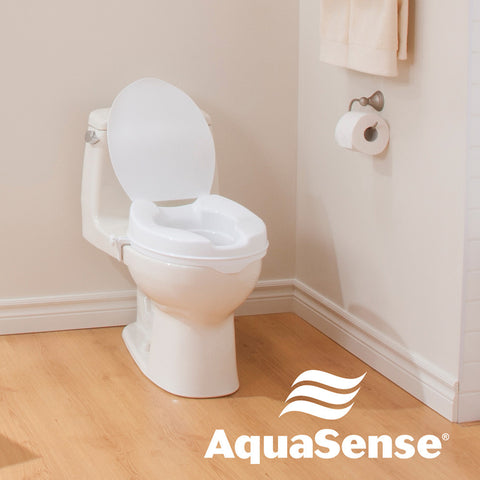 Raised Toilet Seat with Lid, White, 2""