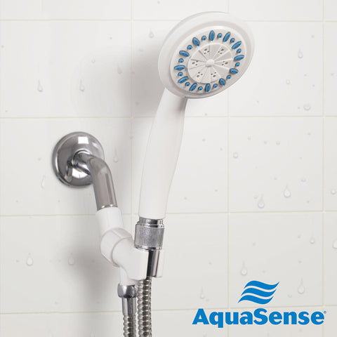 3 Setting Handheld Shower Head with Ultra-Long Stainless Steel Hose, White