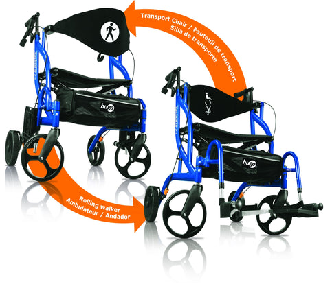 Hugo Navigator Side-Folding Rolling Walker & Transport Chair