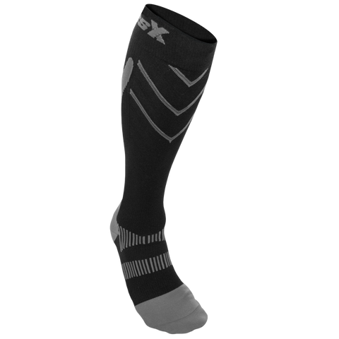 CSX 20-30 mmHg Compression Socks Silver on Black
