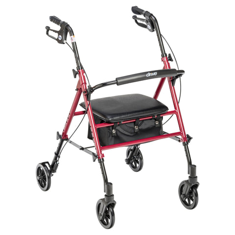 "Adjustable Height Rollator with 6"" Wheels, Red"