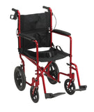 Lightweight Expedition Transport Wheelchair with Hand Brakes, Red