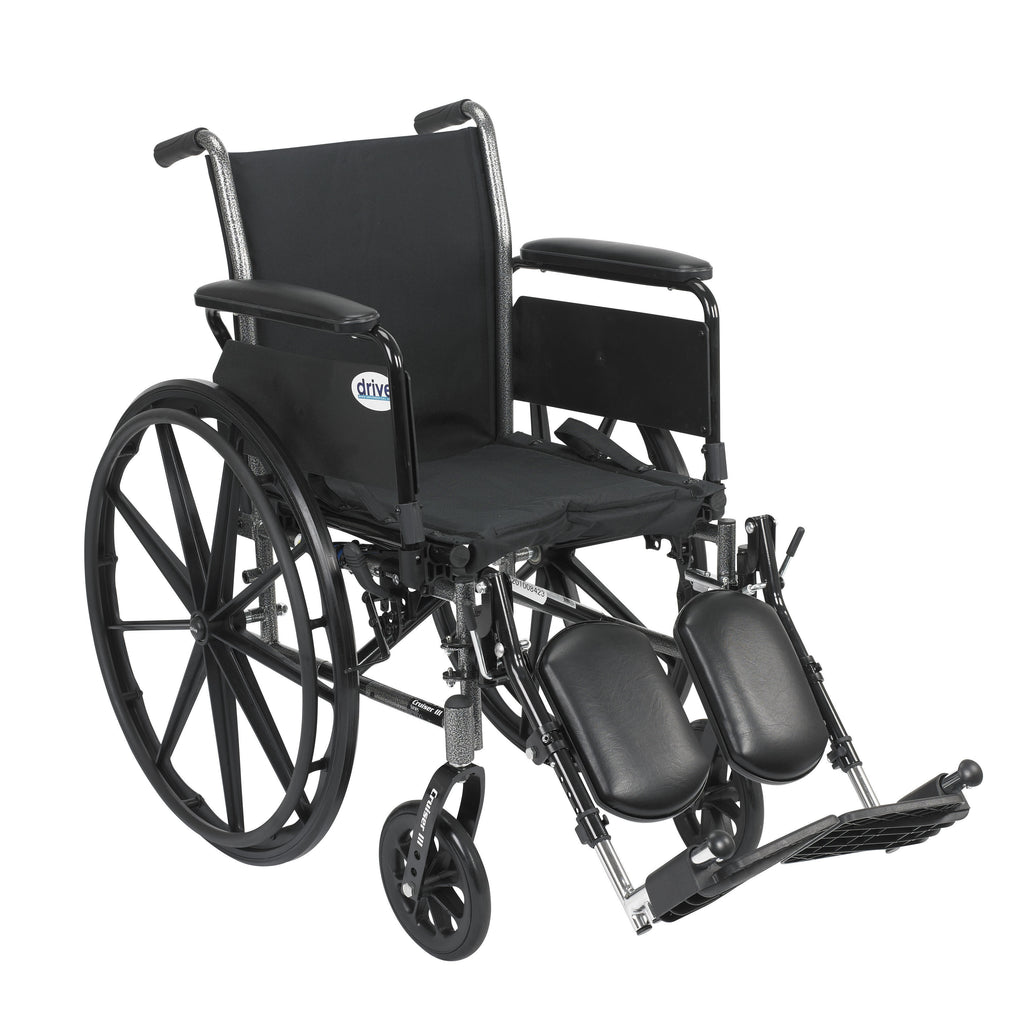 "Cruiser III Light Weight Wheelchair with Flip Back Removable Arms, Full Arms, Elevating Leg Rests, 16"" Seat"