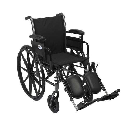 Cruiser III Light Weight Wheelchair with Flip Back Removable Arms, Adjustable Height Desk Arms, Elevating Leg Rests, 18""