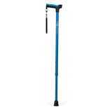 Adjustable Derby Handle Cane with Reflective Strap, Aquamarine