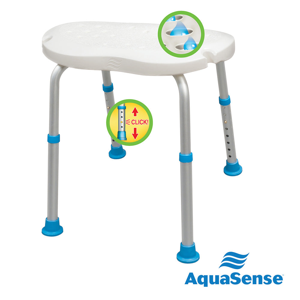 Adjustable Bath and Shower Chair with Non-Slip Comfort Seat, White