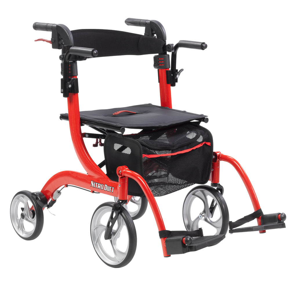 Nitro Duet Dual Function Transport Wheelchair and Rollator Rolling Walker