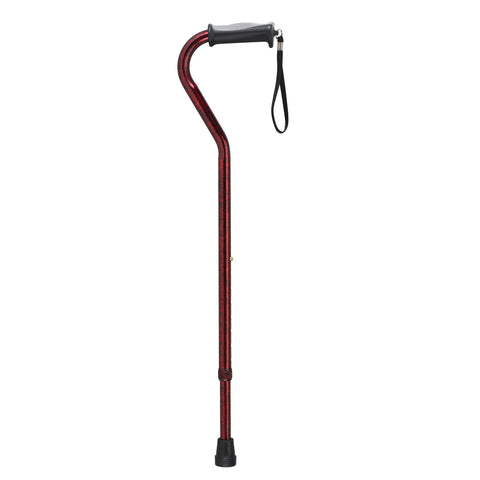 Adjustable Height Offset Handle Cane with Gel Hand Grip, Red Crackle