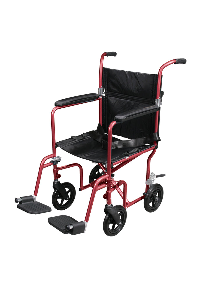 Flyweight Lightweight Transport Wheelchair with Removable Wheels, Red