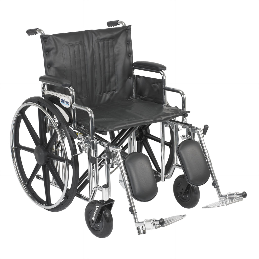 "Sentra Extra Heavy Duty Wheelchair, Detachable Desk Arms, Elevating Leg Rests, 22"" Seat"