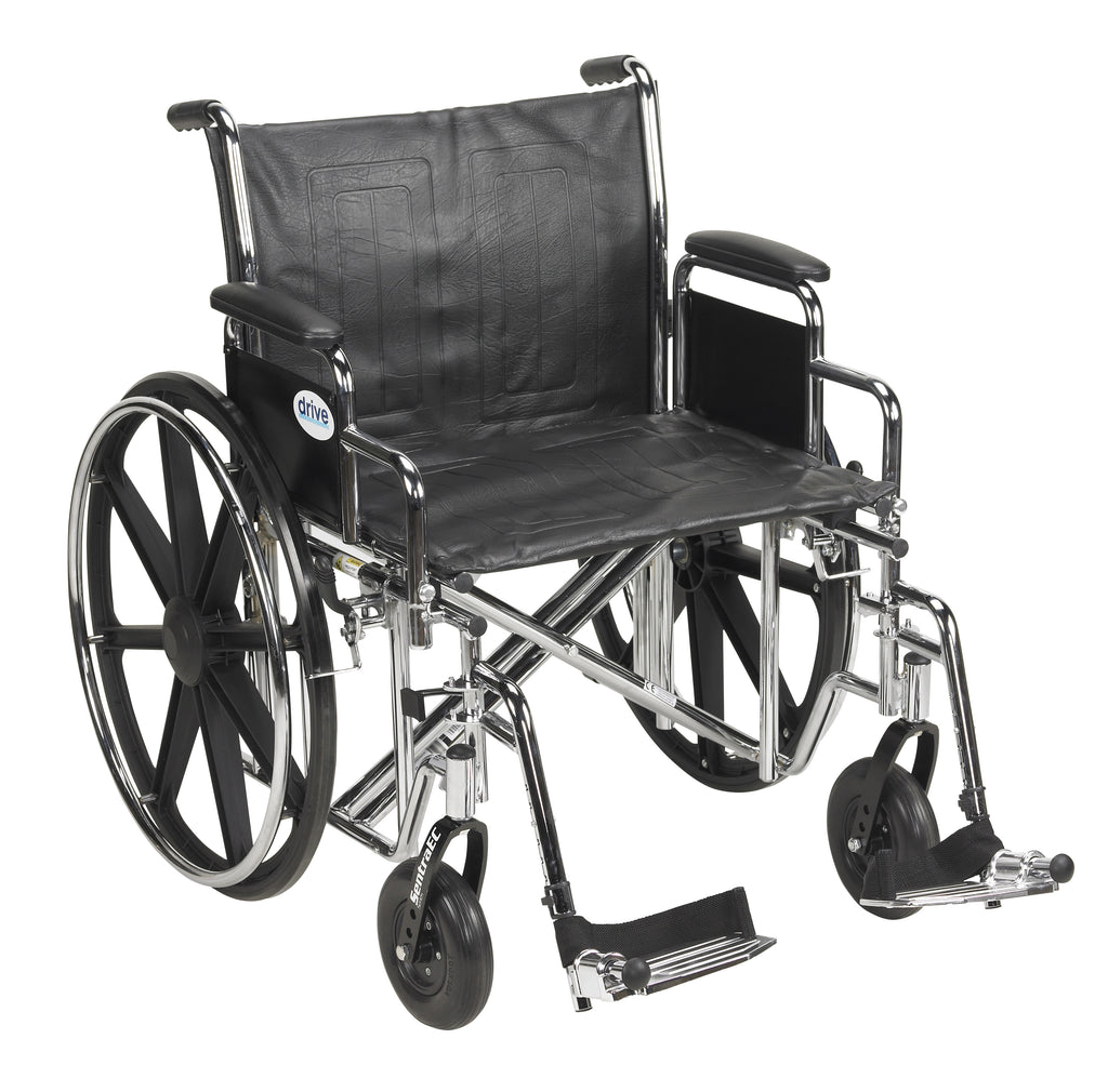 "Sentra EC Heavy Duty Wheelchair, Detachable Desk Arms, Swing away Footrests, 22"" Seat"
