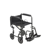 "Lightweight Steel Transport Wheelchair, Fixed Full Arms, 17"" Seat"