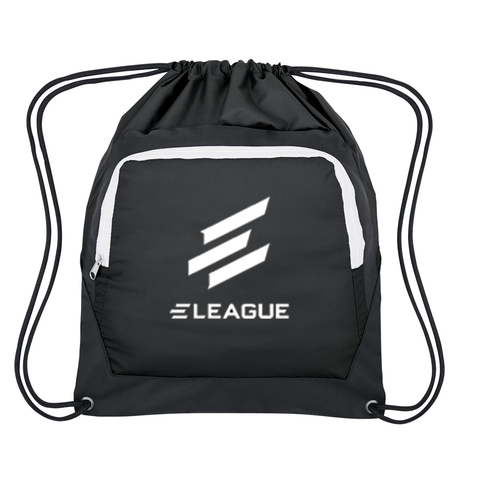 ELEAGUE Drawstring Bag with Zippered Pocket - ELeague