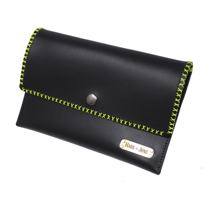 Envelope Bag || Black w Neon Stitching