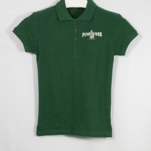 GIRLS DARK GREEN PIQUE KNIT SHIRT WITH EMBROIDERED LOGO - Appletree Uniforms