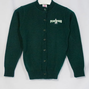 PINEWOOD GIRLS CLASSIC CREW NECK CARDIGAN WITH EMBROIDERED LOGO - Appletree Uniforms