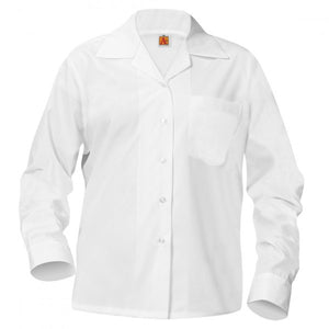 GIRLS WHITE LONG SLEEVE BROADCLOTH BLOUSE WITH POCKET WITH EMBROIDERED LOGO - Appletree Uniforms