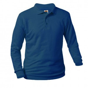 NAVY UNISEX JERSEY KNIT LONG SLEEVE POLO SHIRT - Appletree Uniforms