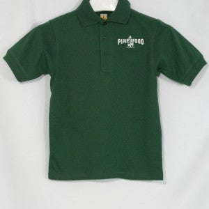 Pinewood Unisex Banded Short Sleeve Green Jersey Knit Polo Shirt With Embroidered Logo - Appletree Uniforms