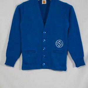 ST. SIMION SCHOOL CLASSIC V-NECK CARDIGAN WITH EMBROIDERED LOGO