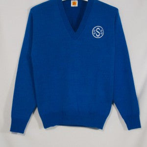 ST. SIMON CLASSIC V-NECK PULLOVER WITH EMBROIDERED LOGO