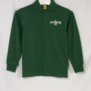 UNISEX PINEWOOD JERSEY KNIT LONG SLEEVE POLO SHIRT WITH EMBROIDERED LOGO - Appletree Uniforms